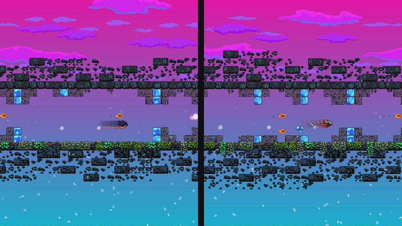 Split-screen Two Player Mode – cuz rage-quitting needs to be competitive.